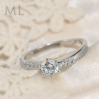 0.90 CT Carat ROUND CUT Engagement Promise RING Silver Plated SIZE 4-10 Eve