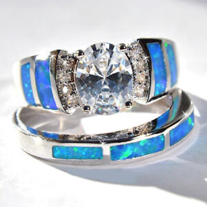 Blue Opal Oval Cz Band Women's White Gold Filled Engagement Rings Set Size 5-10