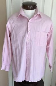 Calvin Klein Pink & White Pinstriped Relaxed Fit Button Front Shirt Mens L 32/33