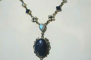 925 Sterling Silver Nikki Butler Lapis, Moonstone, Pearl, Amethyst Necklace