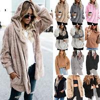 Women's Faux Fur Teddy Bear Fleece Coat Lady Winter Jacket Hoodie Hooded Outwear