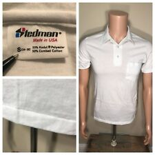 Vintage Stedman Polo T-shirt Deadstock NOS White SMALL 50/50 pocket made in USA