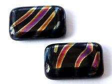 20 (mm) METALLIC PRINT BLACK CZECH GLASS RECTANGULAR/CUBE BEADS - (4PCS) - B058