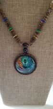 NWT BOUTIQUE TRIBAL ETHNIC BOHO WOOD Tibetan Nepal peacock style NECKLACE