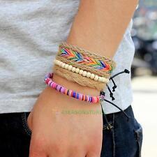 Fashion Women Men Leather Wrap Braided Wristband Hemp Rope Beads Multi Bracelet