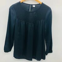 Old Navy Womens Size XS Relaxed Lace Yoke Top Blouse 3/4 Sleeve Black Jack 768