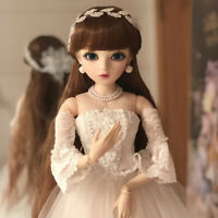 BJD Doll 1/3 Ball Jointed Girl Dolls Eyes Face Wig Clothes Dress Makeup FULL SET