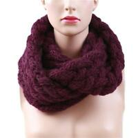 Winter Warm Men Women Infinity Circle Cable Knit Cowl Neck Long Scarf Shawl LD