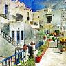 "Cortesi Home Santorini I Tempered Glass Wall Art, 12"" x 12"""