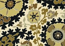Designer Fabric Light Beige Black Brown Gray Paisley  Cotton Drapery Upholstery