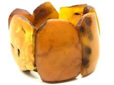 Old Vintage Natural BALTIC AMBER BRACELET Egg Yolk Butterscotch Beads 72g 11426