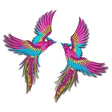 2 Lot Phoenix Birds Patch Pink Wings Tattoo Embroidered Iron on Applique DIY