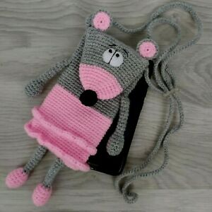 Mouse Phone Case Handmade Crochet Phone Case Kids Knitted Phone Pouch