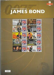 """COMMEMORATIVE SHEETS """"JAMES BOND"""" AS ISSUED UM MNH  FREE POST"""