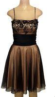 Spaghetti Strap Empire Waist Lace Sheer Mesh Top Nude Illusion Prom Dress M