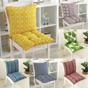2PCS High Back Chair Tie Seat Pads Cushions Garden Rocking Deck Chair Cushion UK