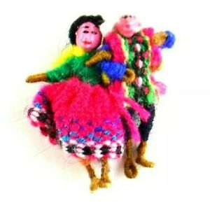 Handmade Vtg OOAK Couple Wire Spun Paper Mache People Miniature Pin Knit Clothes