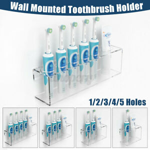 Wall Mounted Electric Toothbrush w/ Toothpaste Storage Holder Bathroom Organiser