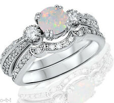Sterling Silver Engagement Ring Set Round Simulated White Fire Opal Genuine