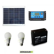 Kit illuminazione stalla baita pannello solare 30W 5 ore 2 lampadine 7W LED