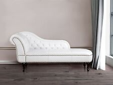 White Faux Leather Chaise Lounge Sofa Day Bed Longue Chesterfield Chair Glamour