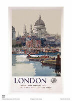 LONDON ST PAUL'S CATHEDRAL VINTAGE RETRO RAILWAY TRAVEL POSTER ADVERTISING ART