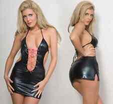 Black Lace Up,,Clubwear, PVC, wet look Mini dress one size fits 8/10/12....