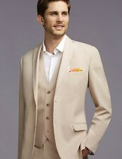 Custom Two Button Beige Groom Tuxedos Groomsmen Mens Wedding Suits Prom Suits