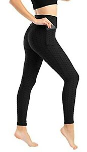 Women's Slim Fit High Waist Textured Pocket Leggings Tummy Control Scrunched