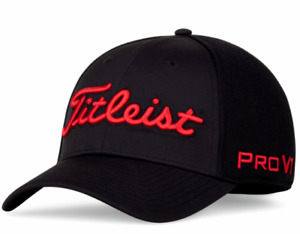 2021 Titleist Golf Tour Sports Mesh Staff Hat/Cap Black with Red - SIZE: XL/XXL
