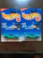 2X HOT WHEELS 1995 Blue Card #473 Street Beast Green