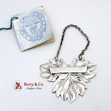 Figural Leaf Scroll Bottle Tags Sterling Silver Pair Royal Irish Silver Co 1969