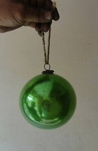Antique Old Collectible Round Shape Green Kugel Christmas Tree Decor Ornaments