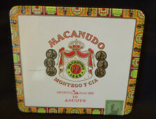 Collectible empty tin cigar box Macanudo 10 Ascots 1986 label Dominican Rep 5x5