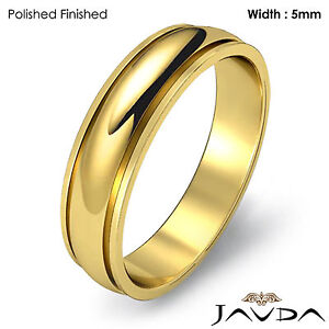 Wedding Band Plain Dome Step Ring Women Solid 5mm 18k Yellow Gold 4.9g Sz 6-6.75