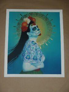Sylvia Ji HAND EMBELLISHED Descanse En Paz art print Day of the Dead Catrina