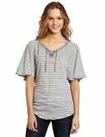 NWT UNION BAY WOMEN'S STRIPED LACE-UP TOP FLUTTER SLEEVE GRAPHITE 'L' MSRP32