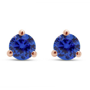 2Ct Sapphire Solitaire Screw Back Stud Earrings Martini Style 14K Rose Gold