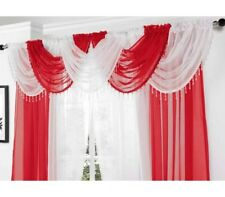 READY MADE BEADED VOILE SWAG SWAGS NET CURTAIN DECORATIVE PELMET VALANCE DRAPES