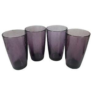 Bormioli Rocco Purple Glass Cup set of 4 Hammered Amethyst Studio Iced Tea Water
