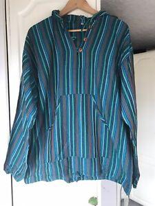 Hippie Boho Hoodie Jumper Blue Green Striped Casual Comfy XL