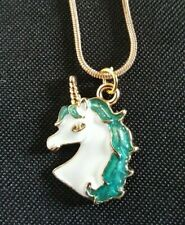 Gold Tone Green and White Unicorn necklace 17 inch snake chain