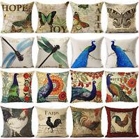 """17"""" Vintage Linen Cotton Cushion Cover Waist Throw Pillow Case Home Sofa Decor"""