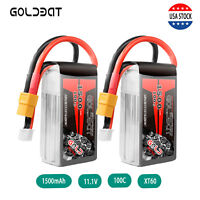 2X GOLDBAT 1500mAh 100C 11.1V 3S LiPo Battery XT60 Plug for RC Drone FPV Car