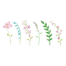 Waterproof Temporary Fake Tattoo Stickers Pink Mini Flowers Green Leaf Design