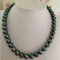 "9-10mm peacock green round pearl necklace 18""14k Women Cultured Wedding Aurora"