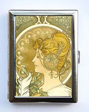 Art Nouveau La Plume Cigarette Case id case Wallet Business Card Holder