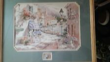 """MARILYN  SIMANDLE   """" WATERFRONT VILLAGE  """" LITHOGRAPH SPECTACULAR FRAME"""