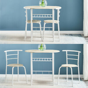 Small Table And 2 Chairs Breakfast Bar Kitchen Dining Room Furniture Set White