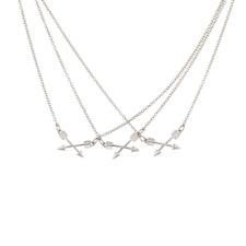 Arrows Necklace Set Lux Silvertone Crossed